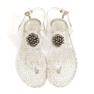 Coach Hilda Clear Glitter Jelly Thong Sandals Sz 9